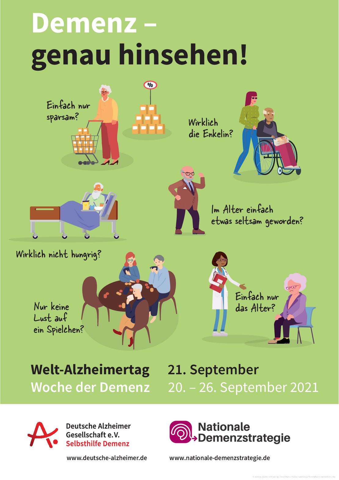 Poster zum WAT-Motto Demenz - genau hinsehen!